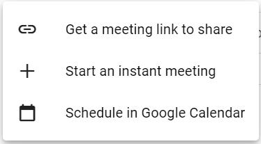 New Meeting Option - Google Meet
